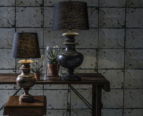 Drewniana lampa stolowa Ebba mango vintage PR Home