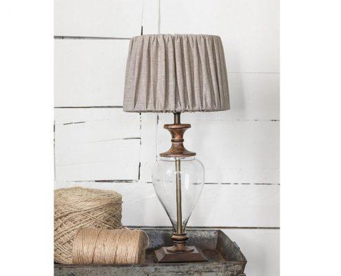 Lampa stołowa Clara drewno szkło PR Home