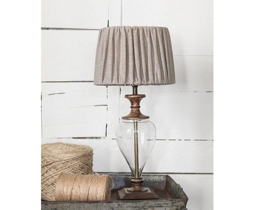 Lampa stolowa szklo drewno Clara