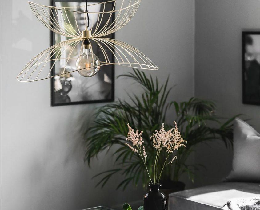 Druciana lampa wiszaca Ray mosiadz