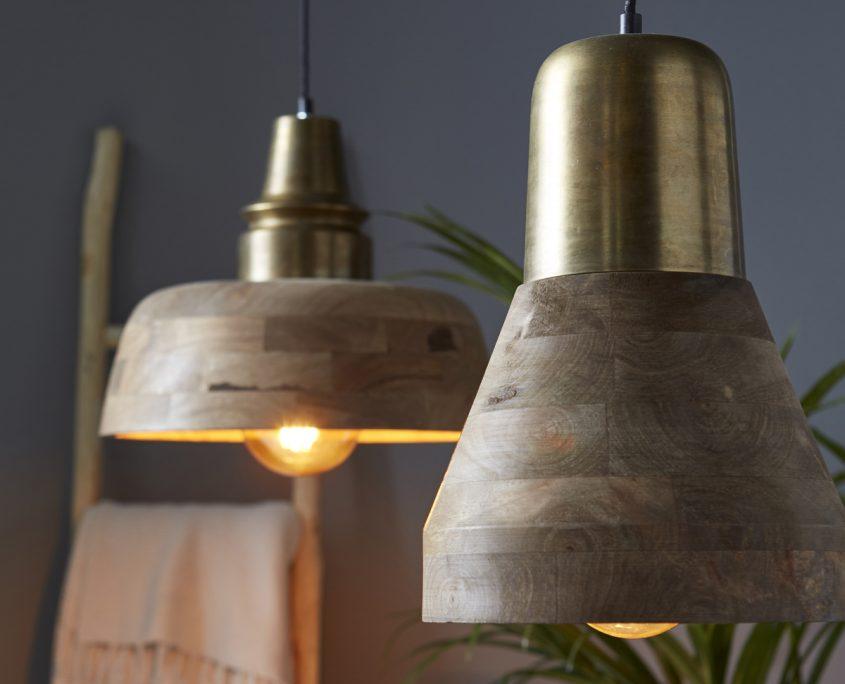 Drewniane lampy wiszace Burton