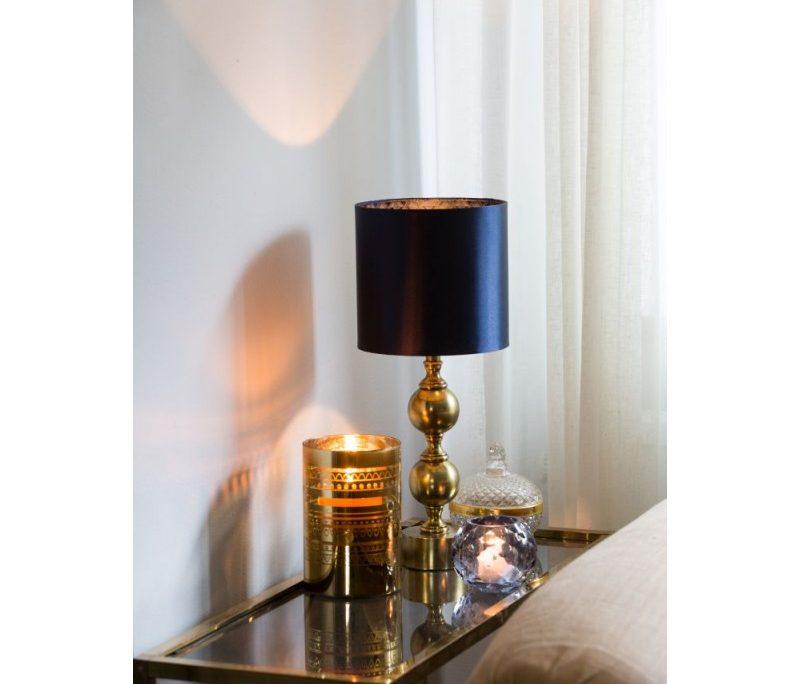 Zlota lampa Deborah z granatowym jedwabnym abazurem