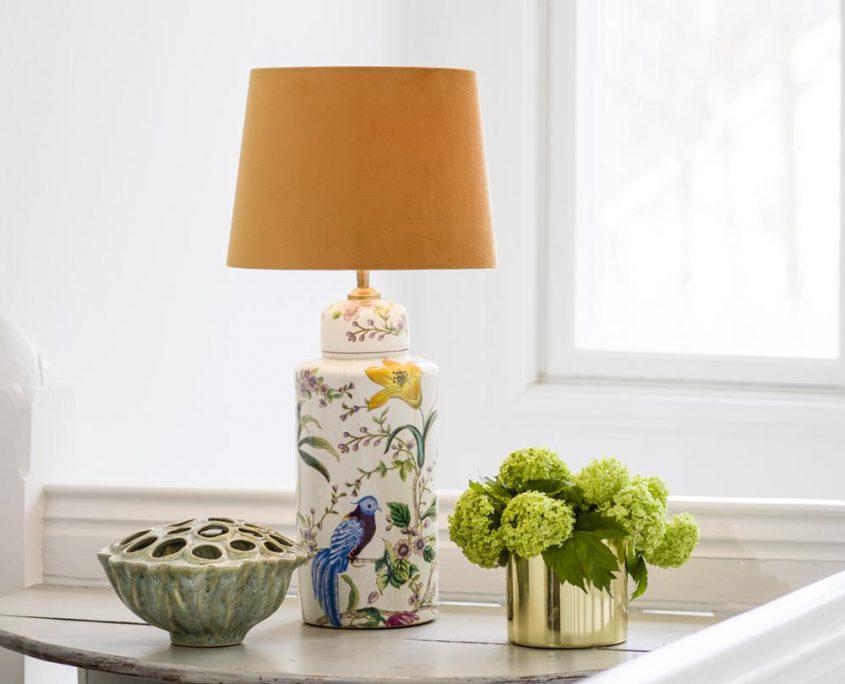 Ceramiczna lampa w kwiaty Lina