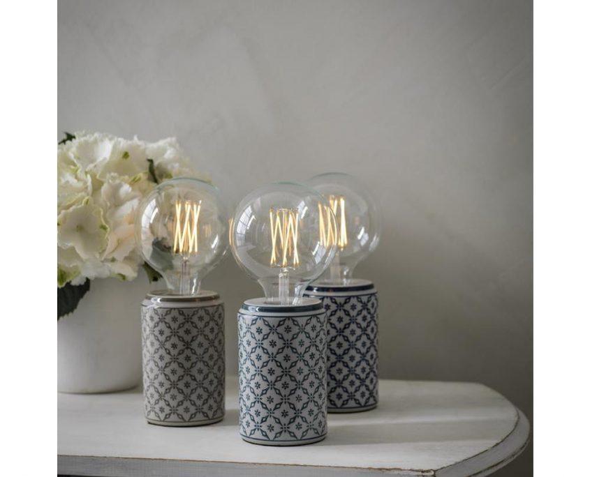 Ceramiczne lampki stolowe Ming z dekoracyjnymi zarowkami