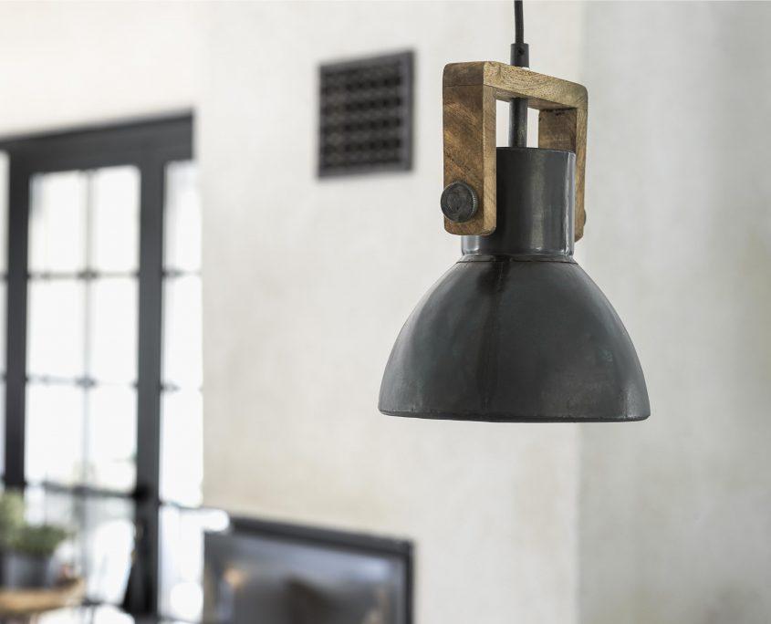 Lampa loft vintage Ashby metal drewno
