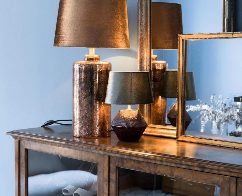 Szklana lampa vintage Zelma z aksamitnym abazurem