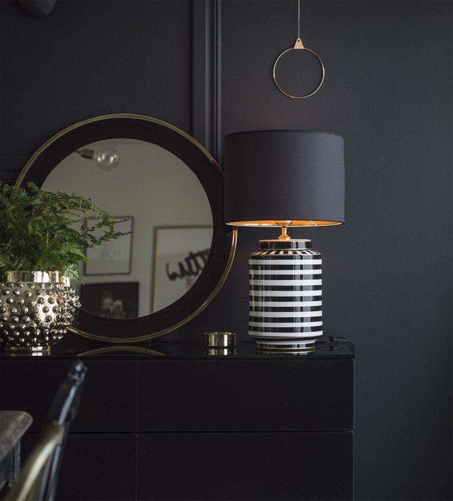 Ceramiczna lampa Gatsby w stylu art deco z czarno zlotym abazurem