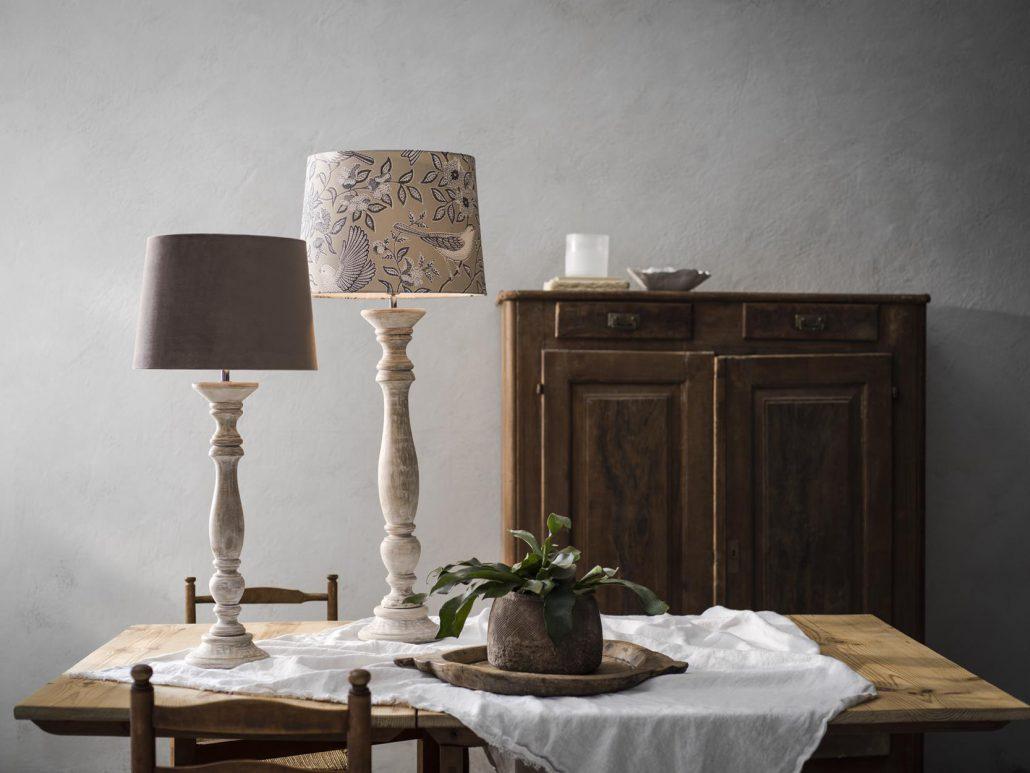 Rustykalne lampy stolowe drewniane Cottage PR Home