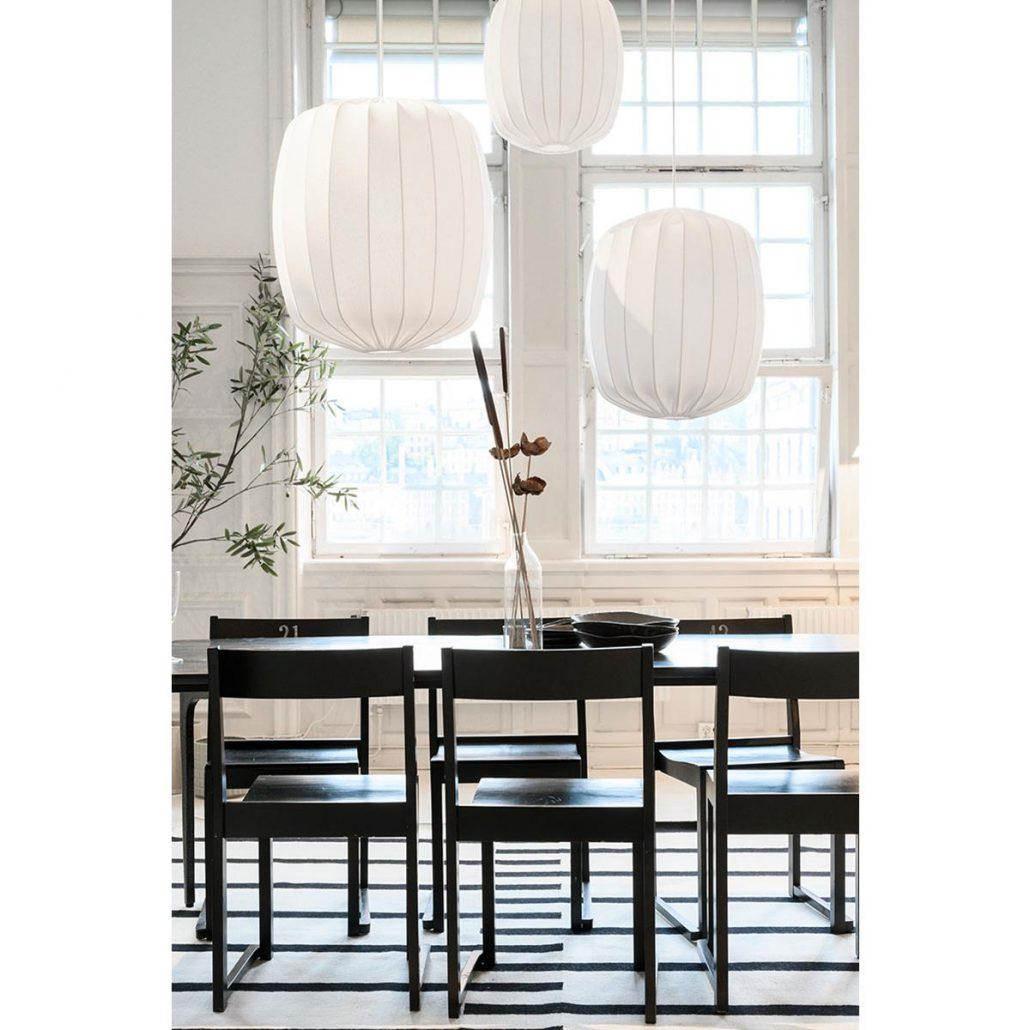 Lampy materialowe kule Prisma w stylu skandynawskim