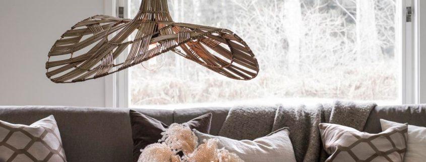 Designerska rattanowa lampa kapelusz Wella PR Home