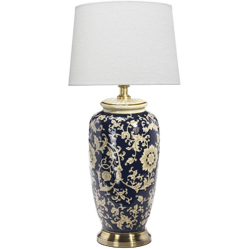 Ceramiczna Lampa Stołowa Lee 68cm Czarno Granatowa