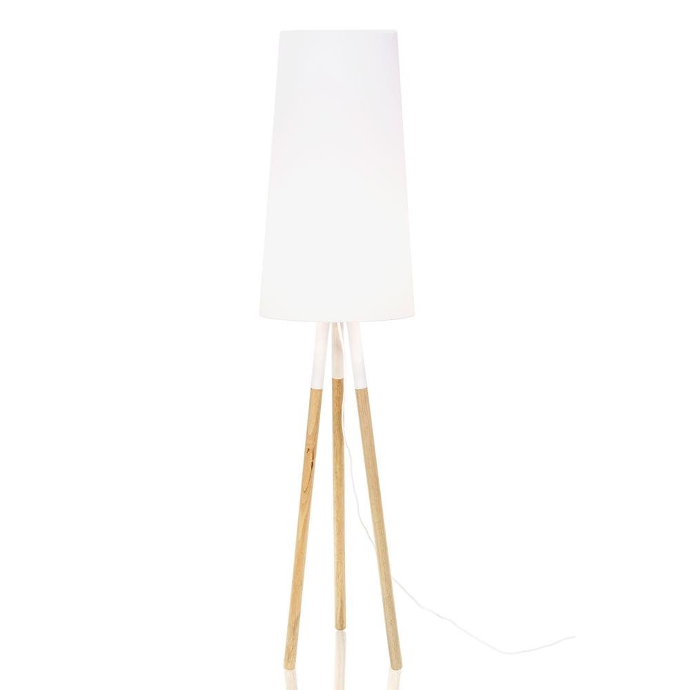 Ekstra Drewniana lampa podłogowa Oslo biała z abażurem QC-35
