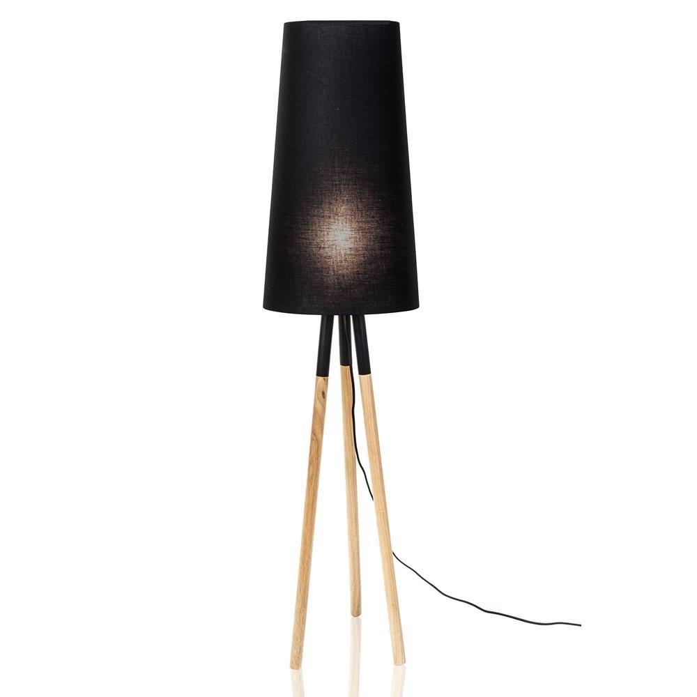 Ekstra Drewniana lampa podłogowa Oslo czarna z abażurem CA-74