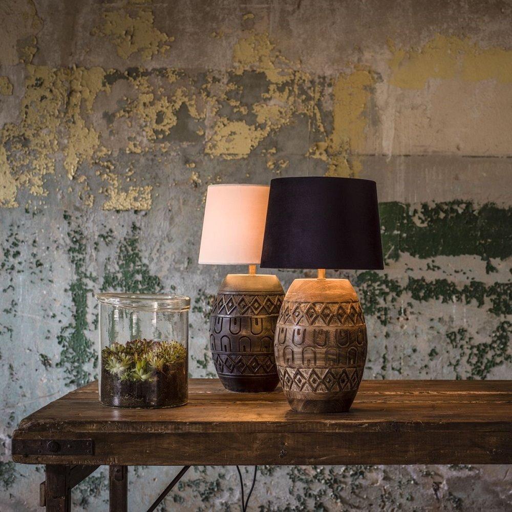 Drewniana Lampa Stołowa Indigo Czarna Podstawa