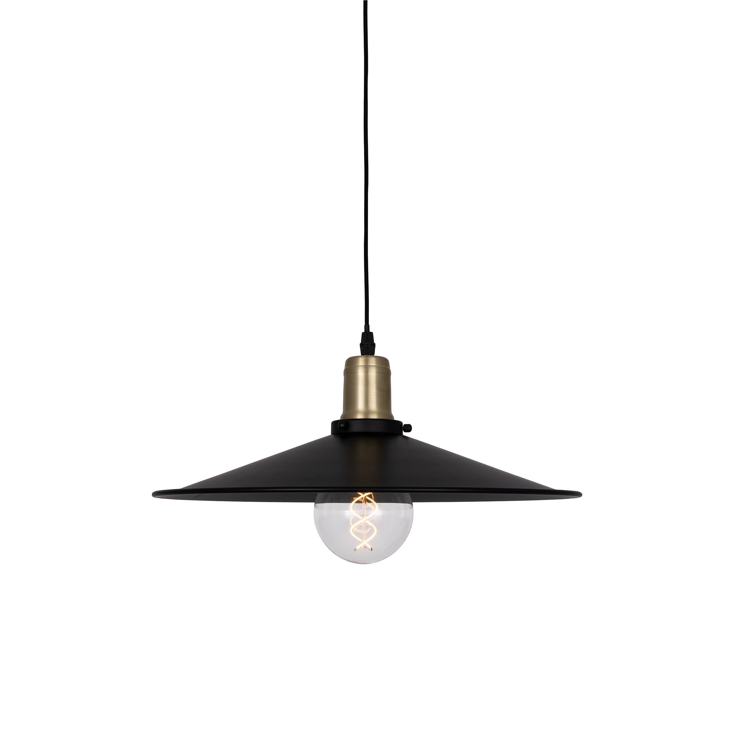 Fantastyczny Duża industrialna lampa wisząca stożek Disc czarna ZE97
